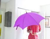 Vintage Purple Umbrella Curved Handle