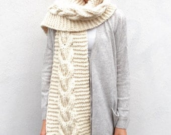 NEW Chunky Cream scarf/Cable/Anelle/ Extra long scarf