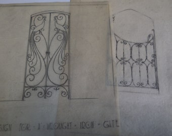 2 antique original drawings Architectural Interior Design Wrought iron Gates Peacock Bird Decorator
