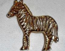 Vintage Gold-tone Filigree Zebra Brooch