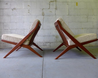 PHENOMENAL Mid Century Modern styled Pair of Scissor LOUNGE CHAIRS