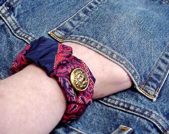 Silk Tie Bracelet, Original Handmade Paisley Necktie Wrist Cuff, Upcycled Neck Tie Art, Eco Chic Textile Fiber Jewelry itsyourcountry
