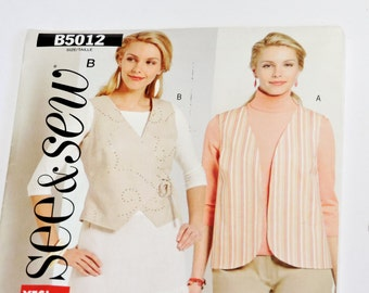 Butterick 5012 See & Sew Vest Sewing Pattern Misses Sizes L XL, Large and Extra Large, Lined Vest, Two Front Variations itsyourcountry