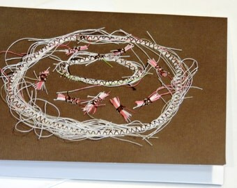 Chocolate Frosted Donut with Sprinkles Note Card, Original Textile Thread Art Painting, Paper-Stitched Bakery Treat Greeting itsyourcountry