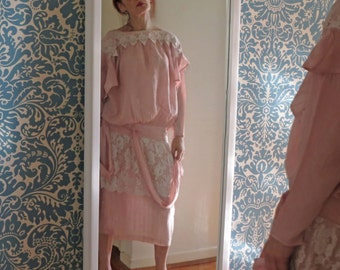 80s Musk Pink Chantilly Lace Downtown Abbey 20s 30s Drop Waist Dress Edwardian Style