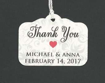 Elegant Simple Thank you -Wedding or Favor tags-Shower or Gift tags-Hang Tags-100 tags