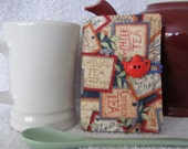 Quilted Tea Wallet Tea Bag Holder Tea Label Theme Fabric Blue and Beige Accent Fabric Quilted Tea Leaf Accent Stitch Cute Red Teapot Button