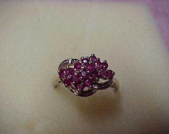 Vintage Natural Ruby Gemstones Ring, .75CTW, 15 Rubies, 2MM, Sterling Silver, Size 9