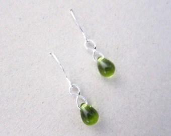 Olive Green Glass Teardrop Drop Dangle Earrings TCJG