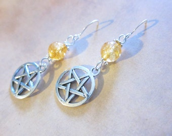 Citrine Gemstone Pentagram Charm Earrings TCJG