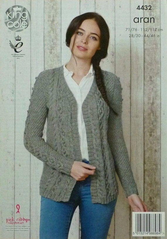 Women s Cardigan Knitting Pattern : Womens Knitting Pattern K4432 Ladies Long Sleeve V-Neck Cable