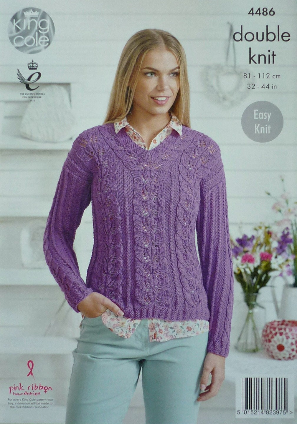 Knitting Pattern Ladies V Neck Jumper : Womens Knitting Pattern K4486 Ladies Easy Knit Long Sleeve V-Neck Lacy Jumper...
