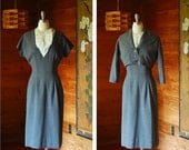 SALE / vintage 1950s grey dress and jacket set / 50s wiggle dress / size medium