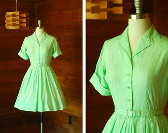 vintage 1950s dress / 50s lime green shirtwaist dress / size small