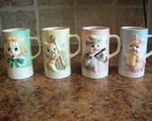 Set of 4 Vintage Childrens Nursery Rhyme Cups Mugs