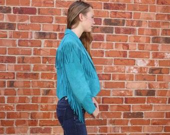 Vintage 1980s / 1990s Teal Blue / Turquoise Suede Leather Fringe Jacket / Coat Women's Pioneer Wear Size 6 Hippie / Hipster / Cowboy