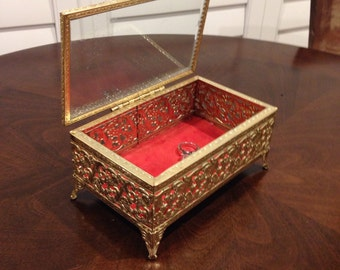 Avon metal glass top jewelry box filigree mid century mod