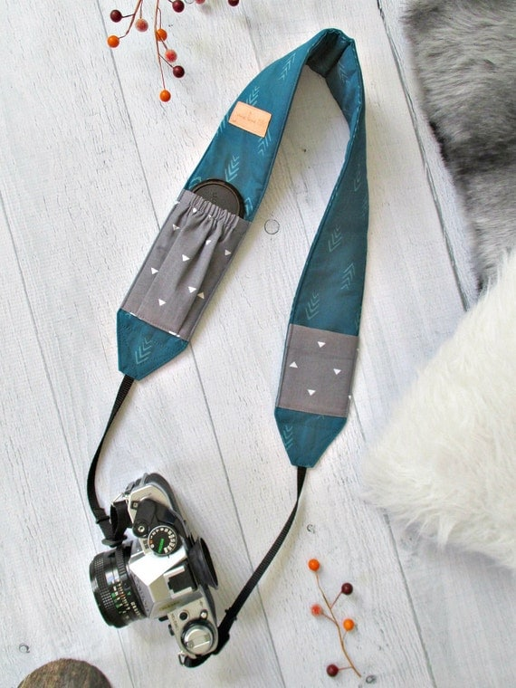 Cross Body DSLR Strap with Pockets | Teal Padded Strap with Gray Lens Cap Pockets
