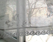 Curtain Burlap Curtains Lace Curtains Cafe Curtains Linen Curtains Kitchen Curtains Shabby Chic Curtains Panels White Flowers