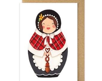 Welsh Lady Card. Welsh Costume. Welsh Babushka Matryoshka Doll. Wales Cymru Dydd Gwyl Dewi Sant St Davids Day Card. Angharad. Stacking Dolls