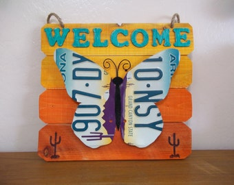 Repurposed 3D Butterfly License Plate Art /  Butterfly Welcome Sign / Arizona