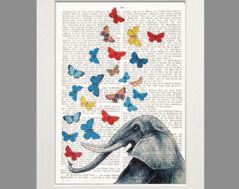 Elephant art black art print butterflies dictionary art giclee print poster elephant illustration wall decor