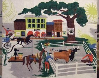 Rare Vintage Barkcloth - Western Town * Cowboys * Horses * Cows * Bulls * Livestock Auction