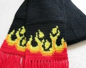 Flame scarf for men or women.  Long, black knit and crochet scarf with flames.
