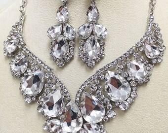 Bridal jewelry set, bridal necklace statement, Wedding jewelry set, backdrop necklace, crystal necklace, evening jewelry, bridal earrings