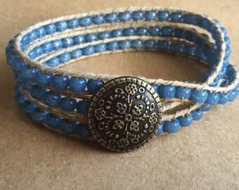 Blue Ceramic Triple Wrap Bracelet