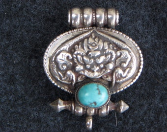 Antique Tibetan Buddhist Sterling Silver and Turquoise Woman Gau Box