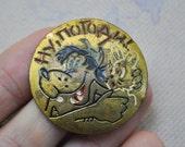 "Vintage Soviet Russian brass badge,pin.Soviet cartoon ""Nu pogodi""."