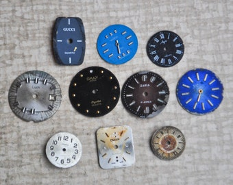 0.5-0.7 inch Set of 10 vintage watch faces,dial,circle.
