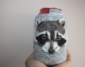 Felted raccoon can cozy