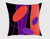"Decorative Pillow Case, Dark Purple Wool Throw pillow case with Orange, Purple Abstract accent, fits 18""x18"" insert, Toss pillow case."