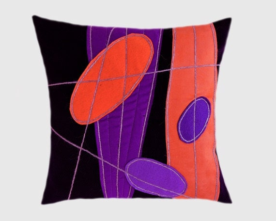 Purple Throw Pillow Cases : Decorative Pillow Case Dark Purple Wool Throw pillow case