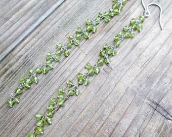 4 inch Long Green Peridot Cluster Drops Sterling Silver Earrings JD36