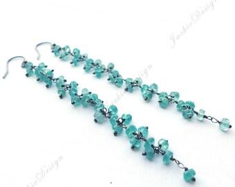 4 inch Long Blue Apatite Stone Cluster Drops Oxidized Sterling Silver Earrings JD37