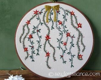 Hand Embroidery Hoop Art Christmas Pine Mistletoe Pointsettia 8 inch Hoop