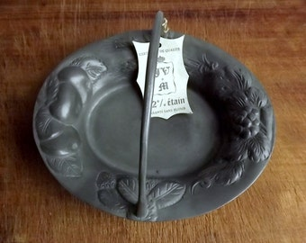 Vintage French pewter basket with fruit decoration and original label