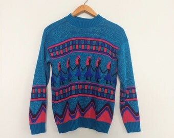 Vintage 80s Sweater w/ Ethnic Print / 80s Graphic Blue Sweater / Abstact Print Sparkle Sweater