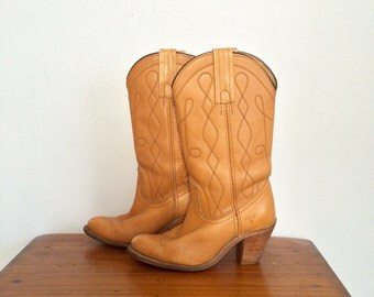 Vintage 70s 80s FRYE Boots / Caramel Brown Leather Stacked Heel Cowboy Western Boots 6 1/2