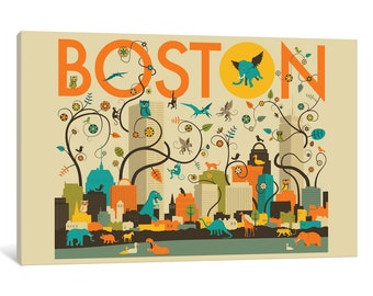 iCanvas Wild Boston Gallery Wrapped Canvas Art Print by Jazzberry Blue