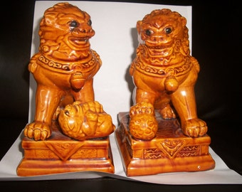 Chinese Foo Dogs Amber Brown