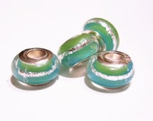 QTY. 2  Glass Euro Beads, 925 Stamped Core, Sea Green and Sea Blue with SIlver Foil, European, Lamp-work, Charm Beads