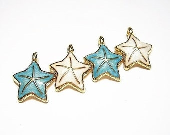 4  Gorgeous, Pearlescent White and  Azure -Turquoise Blue Luster Enamel, Gold Plated Starfish, Charm, Pendant, Sea Star