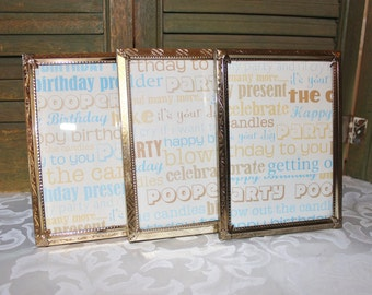 Gold Ornate Metal Picture Frames - Three  5 by 7 Photo Frames