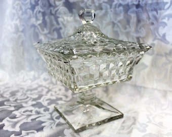 Vintage Fostoria Glass American Crystal Square - Covered Candy Dish - American Wedding Box