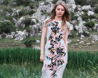 Elegant Grey floral straight dress