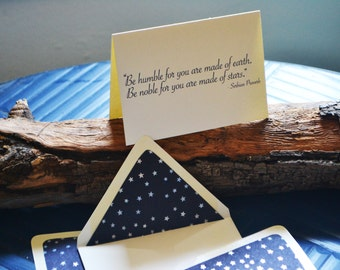 Stars -  Earth - Serbian Proverb - Single Blank Card - All Occasion - Metallic - Navy Blue -  Star Foil Hand Made Paper Lined Envelopes